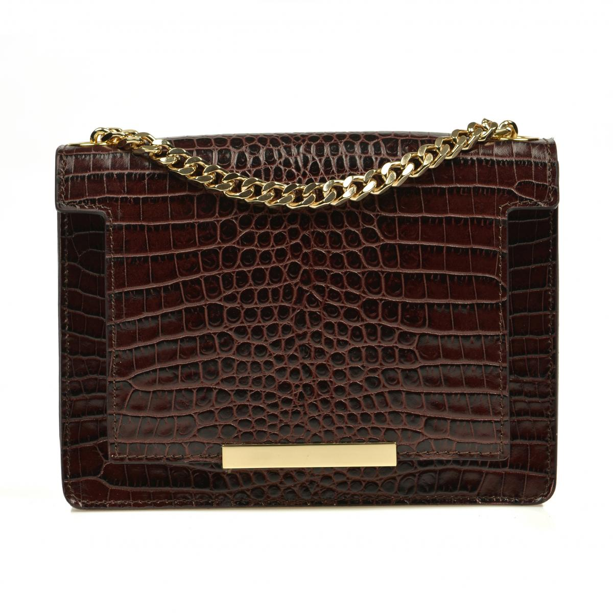Geanta piele croco effect mini Lauren Dark Chocolate